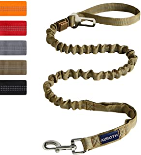 AUROTH Heavy Duty Bungee Dog Leash for Medium Large Breed Dogs, No Pull for Shock Absorption with Car Seat Belt, 2 Padded Handles 4.5FT 6FT Training Dog Leash