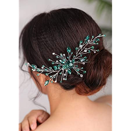 Green Bridal Comb Green Hair Jewelry Green Bridal Hair Pin Crystal Green Headpiece Green Bridal Hair Combs Emerald Wedding Hair Piece