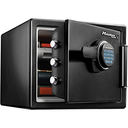 MASTER LOCK Coffre-fort [Ignifuge et Etanche] [Large 22,8L] [Combinaison Electronique] - LFW082FTC - Pour vos documents d'identité, documentsA4, petits appareils électroniques, bijoux