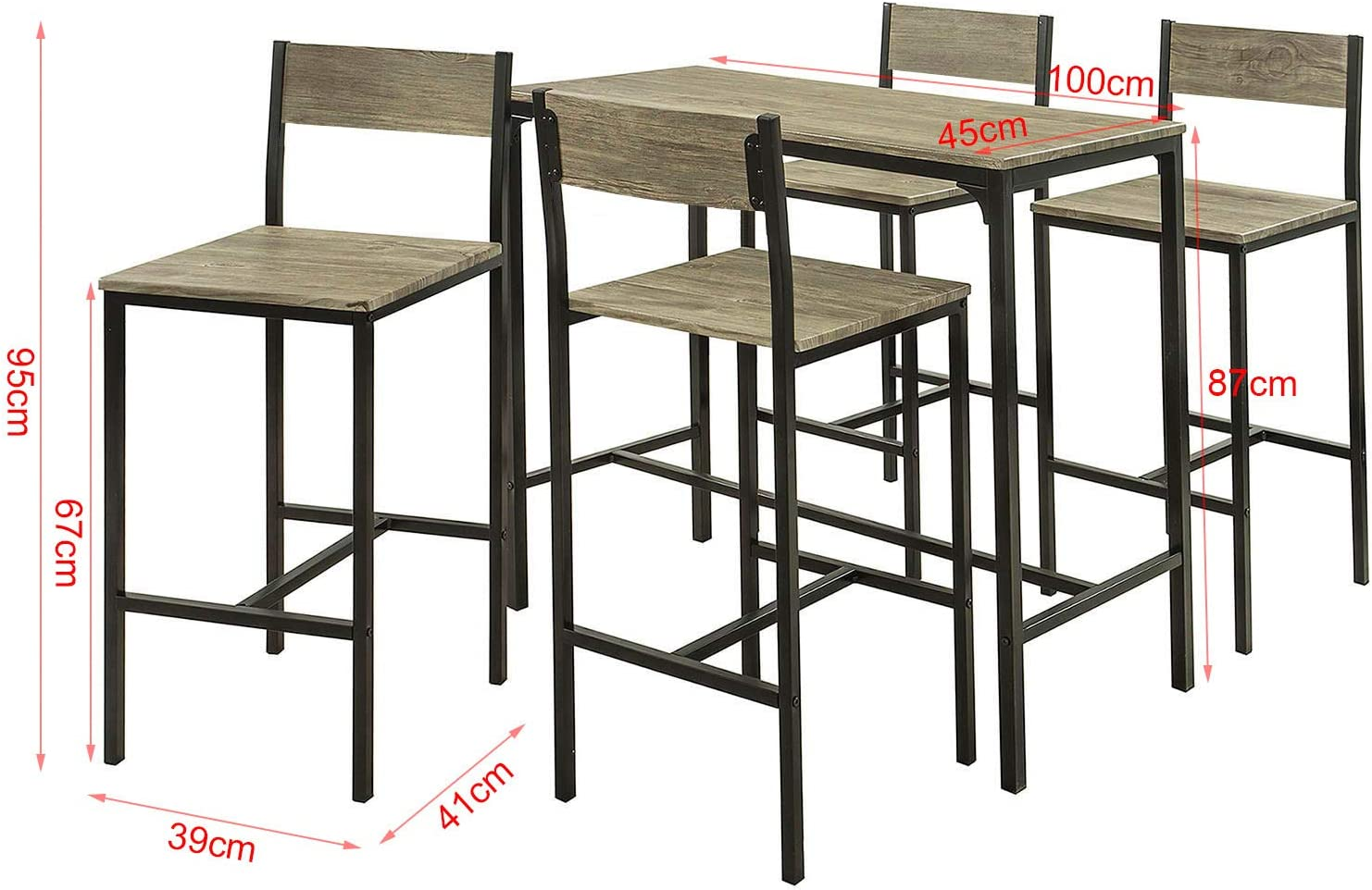 SoBuy® OGT9 Bar Table Set 9 Pieces Dining Table Bistro Table with ...