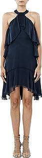 فستان نيكول ميلر نسائي من الحرير الصلب بياقة وهمية بكشكشة