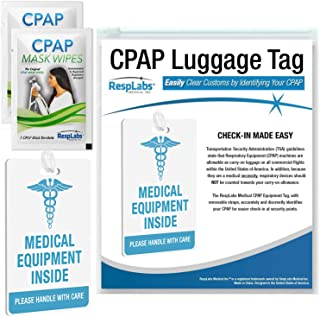 RespLabs CPAP Medical Device Luggage Tag - CPAP, BiPAP and Pap Travel Supplies. Includes 2 CPAP Travel Wipes and CPAP Comf...