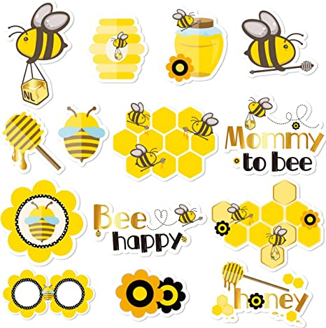 Amazon Com Nicrolandee Honey Bee Baby Shower Photo Booth Props 14 Pack Bumblebee Theme Party Centerpiece Sticks Table Toppers For Mommy To Bee Gender Reveal Party Supplies Kitchen Dining