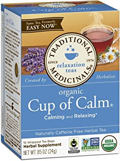 Traditional Medicinals Organic Fair Trade Certified Cup of Calm Herbal Tea, 16-Count Wrapped Tea Bags