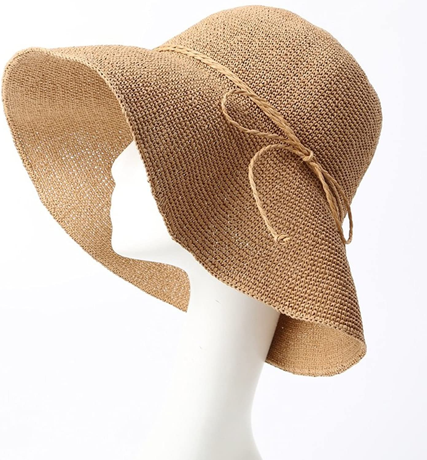 CIGONG Straw Hat Female Summer Beach Hat Seaside Holiday Sunscreen Collapsible Sun Hat Big Visor Summer hat (color   9 , Size   5557  11cm)