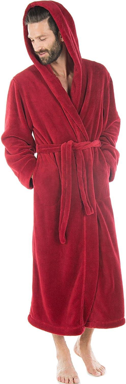 CelinaTex Samos Accappatoio con Cappuccio A Tinta Unita Lungo Tasche Laterali Donna Uomo Unisex Pile di Sherpa XS-XXXL