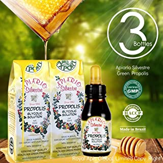 Official Distributor - Cold Fight & Immune Booster - 3 Bottles of Apiario Silvestre Brazilian Green Bee Propolis Liquid Glycolic Extract-Non Alcoholic, Wax Free, Sugar Free