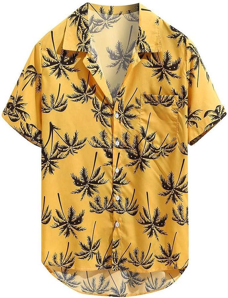 Men's Hawaiian Print Tropical Shirt, Short Sleeve Casual Slim-Fit Linen Button Down Retro Tops (L, Yellow)