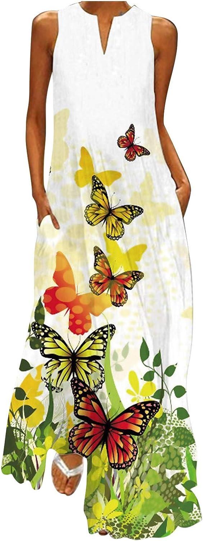 GCETTIC Women's Maxi Dress Casual Summer Vintage Floral Printed Long Maxi Dress Short Sleeve Bohemian Tank Sundress