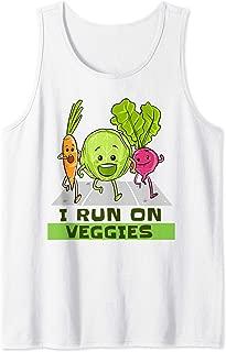 I Run On Veggies Vegan Runner Funny Vegetarian Running Gift Tank Top