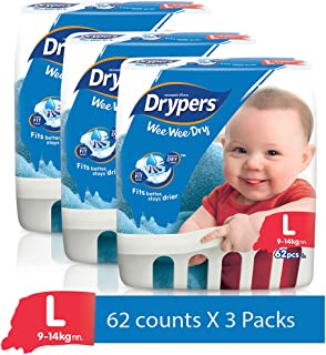 Drypers Wee Wee Dry Large Sized Diapers, Combo Pack of 3, 62 Counts Each (186 Counts)(Taped Diaper)