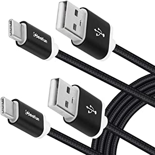 [2PACK] CLEEFUN USB Type C Cable [6ft], Fast Charge USB C Charger Nylon Braided Charging Cord for Samsung Galaxy S10 S9 S8 Plus S10+ S9+ Note 9,Note 8,LG G7 G6 G5 V30 V20, Google Pixel 2 XL,Moto G7 G6