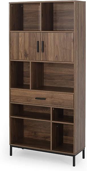大量家具 Yvonne 当代人造木材立方体单元书柜胡桃木和黑色