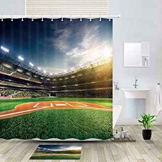 DYNH Sprots Field Shower Curtain Bath Rugs, Professional Baseball Grand Arena in The Sunlight, 69X70in Fabric Bathroom Curtains with 15.7x23.6in Flannel Non-Slip Floor Doormat Rugs