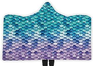 Loveternal Women Mermaid Soft Wearable Blanket Hoodie Unisex Adult Fish Scales Blanket Hoodie Kids Couch Throw Blanket Cuddle Outdoor Teal Blue Purple (60