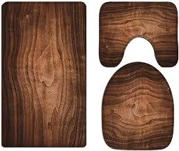 A.Monamour Bath Mat Set of 3 Brown Walnut Wood Texture Background Flannel Washable Toilet Pedestal Mat Toilet Seat Lid Cov...