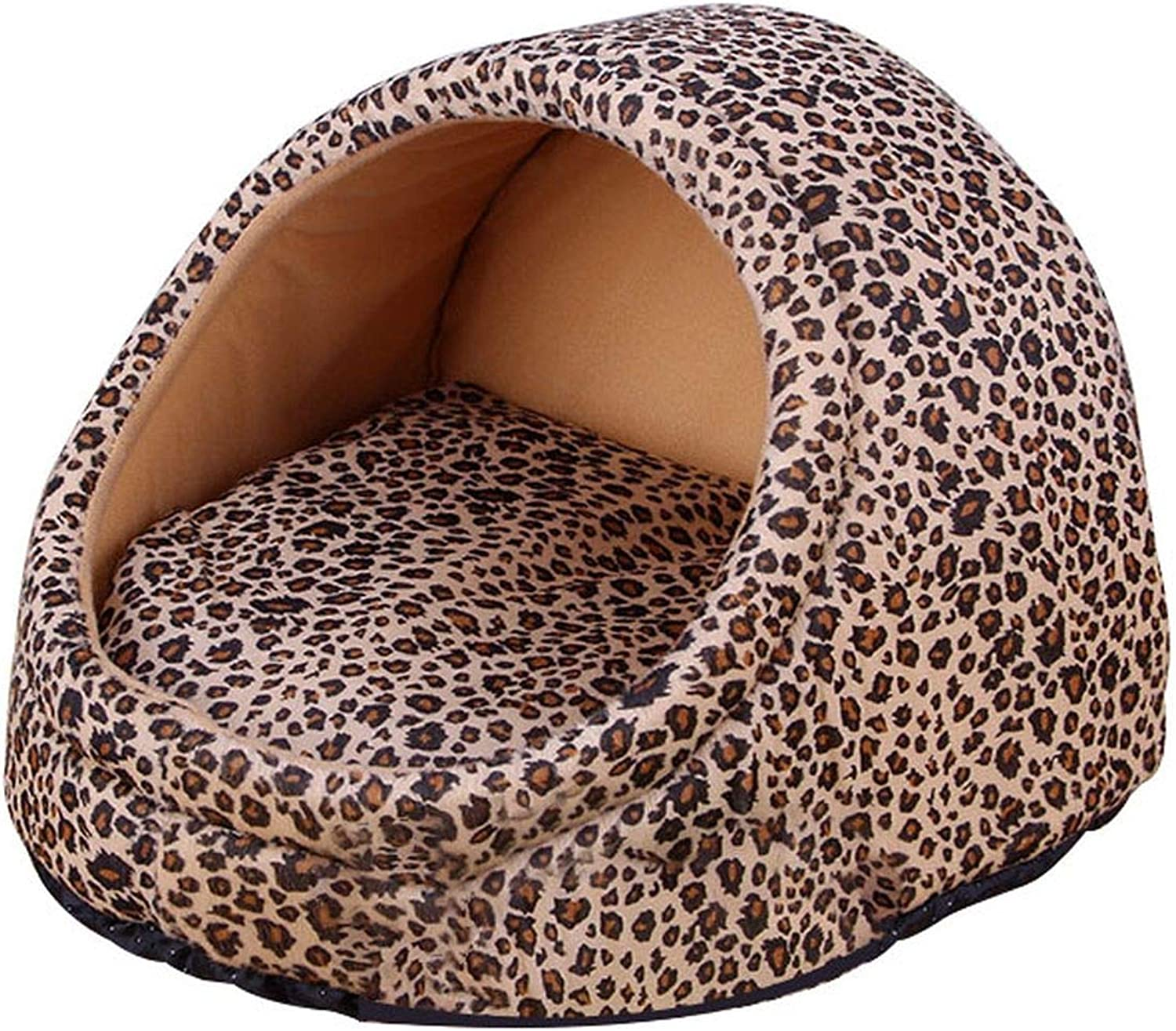 11 Pattern Soft Warm Dog Bed House Winter Cat Bed Small Dog House Detachable Puppy Cushion,Leopard,L