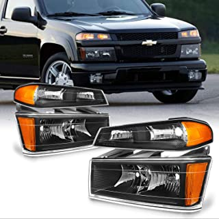 For Chevy Colorado/Canyon Black Headlights + Parking Lights Replacement Driver + Passenger Side Pair