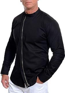 D&R Fashion Mens Asymmetric Shirt Grandad Collar Long Sleeve Metal Zip Cotton Slim Fit M-3XL
