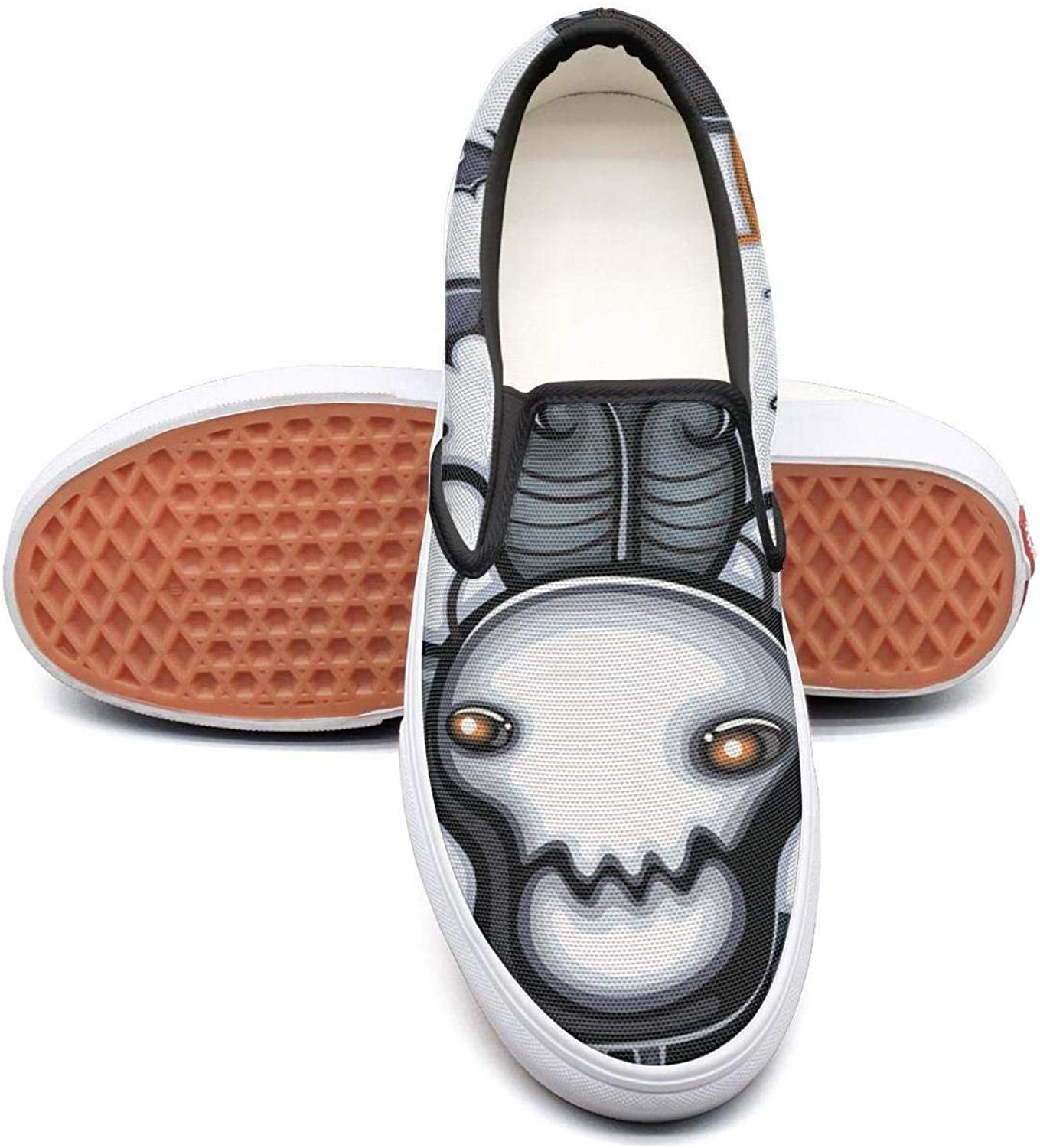 Sernfinjdr Women's Bull Skull Ghost Halloween Fashion Casual Canvas Slip on shoes Comfortable Running Sneakers