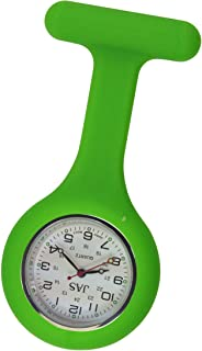 JAS Unisex Nurses Lapel Watch Silicone (Infection Control) Lime Green