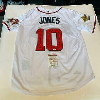 Chipper Jones Signed Heavily Inscribed STATS 1995 World Series Jersey JSA COA