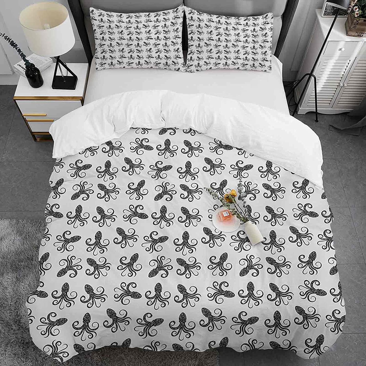 sale Octopus Cotton Duvet Outlet SALE Cover King Size with Typographic M Pattern