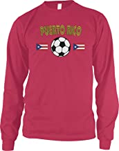 Amdesco Men's Puerto Rico Soccer, Puerto Rican Football Long Sleeve Shirt