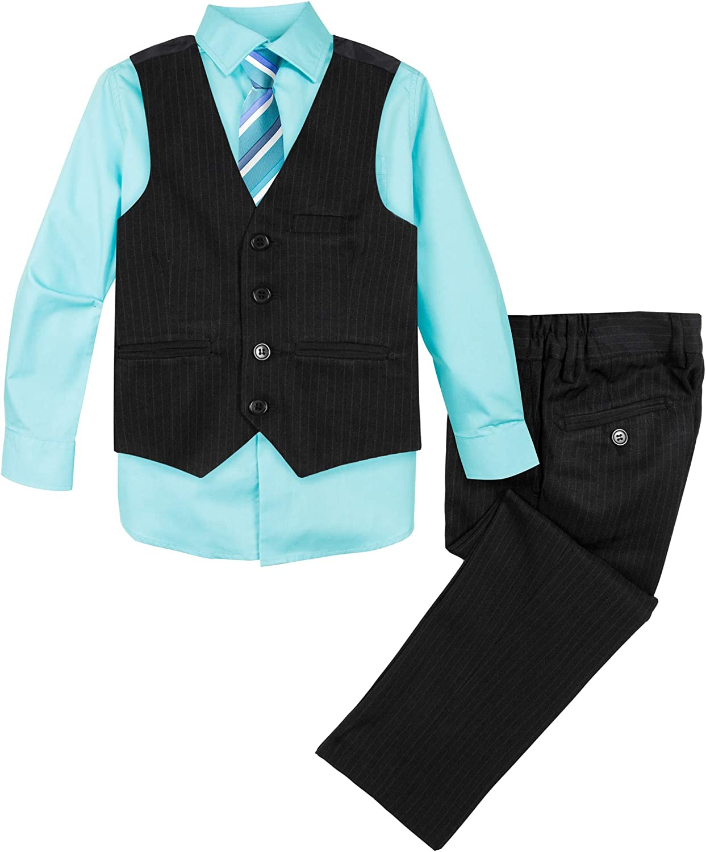 Spring Notion Baby Boys' 4-Piece Pinstripe Vest Set, Black