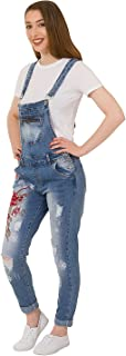 Embroidered Denim Dungarees - Slim Fit Ladies Distressed Stonewash Overalls with