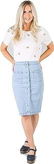 South Shore MID/HIGH Waist Knee Length Button-UP Denim Jean Skirt with Pockets Light Denim