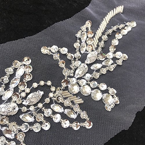 Unique Pure Handmade Sew on Rhinestones Sequins Beads Applique Crystals Patches 15.3x11.4 inches Dress Accessory,Sewing Crastal For Evening Dress (white)