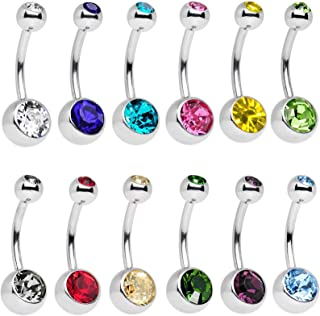 12 Pieces Crystal Navel Belly Button Ring Body Piercing Jewelry Surgical Stainless Steel Bar Belly Ring