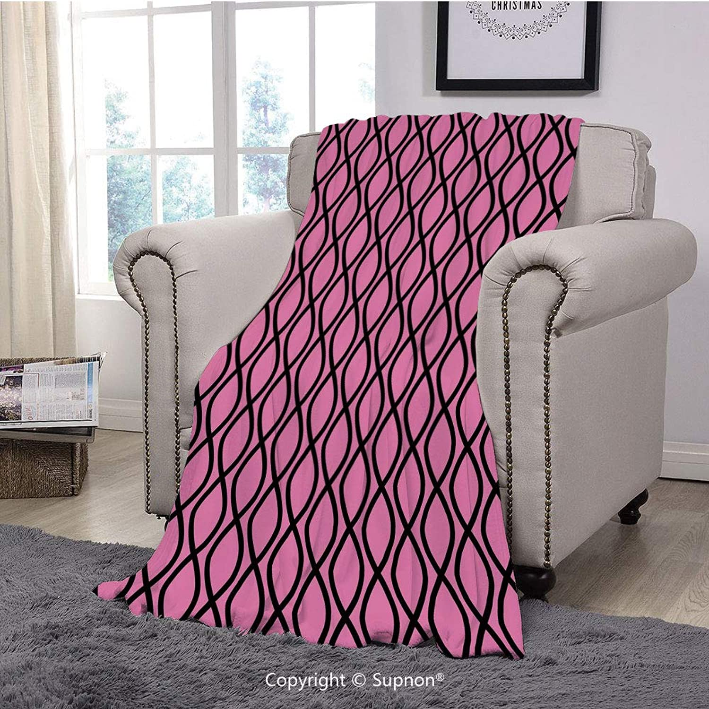 BeeMeng Throw Blanket Super Soft Fuzzy Light Blanket,Hot Pink,greenical Wavy Lines Tangled Stripes Curves Girlish Feminine Design Cute Modern Decorative,Pink Black(51  x 51 )