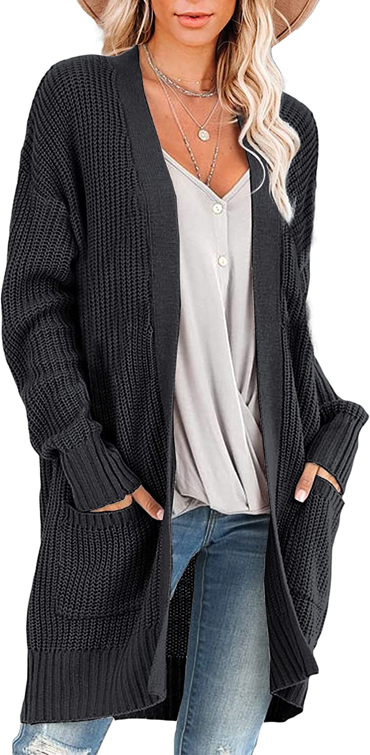 Women's Oversized Cardigan Cable Knit Long Sleeve Loose Open Front Sweater Coat Outwear