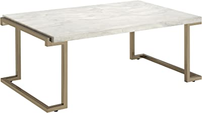 ACME Boice II Coffee Table - 82870 - Faux Marble & Champagne