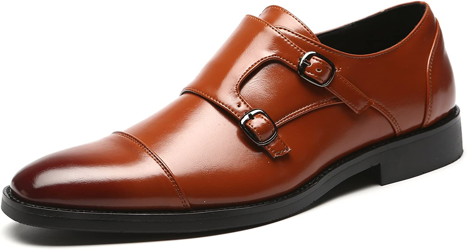 Mens Dress Shoes Italian Fashion Double Monk Strap Slip On Loafer Shoes Oxford Leather Shoes for Men