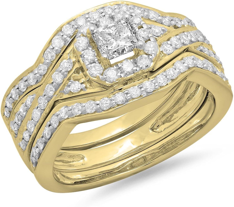 1.25 Carat (ctw) 14K gold Princess & Round Diamond Swirl Bridal Halo Engagement Ring 3 pcs Set 1 1 4 CT