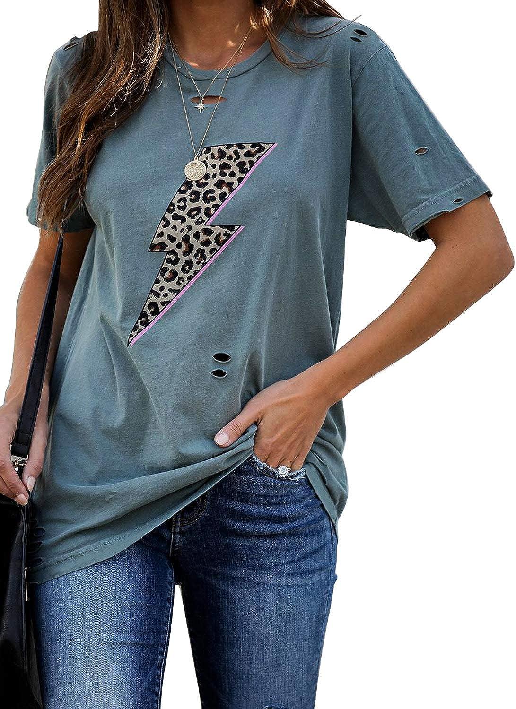Elapsy Womens Leopard Striped Camo Print T-Shirt Pocket Short Sleeve Casual Round Neck Summer Blouse Shirt Tops