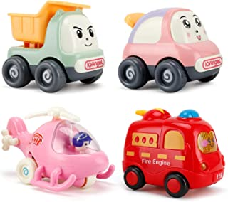NASHRIO Pull Back Cars Toys for 1 2 3 Years Old Baby and Toddlers, 4 Pack Kids Early Educational Vehicles - Boys and Girls...