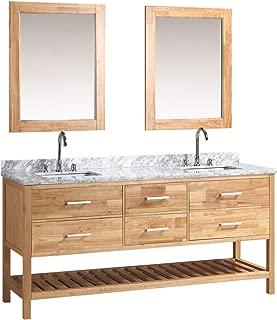Design Element London Double Sink Vanity Set, 72-Inch, Oak Finish