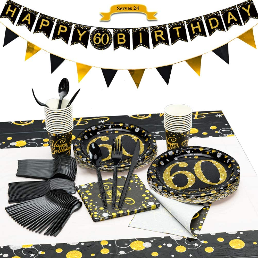 CrzPai 60th Birthday Max 68% OFF Shipping included Party Supplies wit Black Tableware and Gold