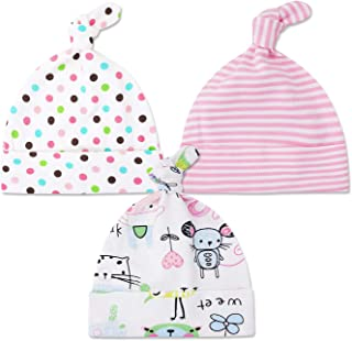 Baby Hats 0-6 Months Cotton Hospital Caps Soft Adjustable Baby Beanie-3 Pack