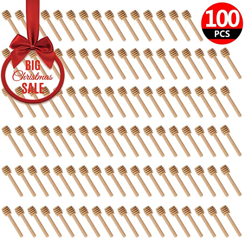 100 Pack Of Mini 3 Inch Wood Honey Dipper Sticks Individually Wrapped Server For Honey Jar Dispense Drizzle Honey Wedding Party Favors