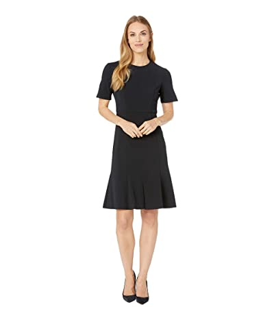 Donna Morgan Short Sleeve Knitted Crepe Fit and Flare Dress (Marine Navy 2) Women