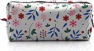 LParkin Floral Large Capacity Canvas Pencil Case Pen Bag Pouch Stationary Case Makeup Cosmetic Bag (White)