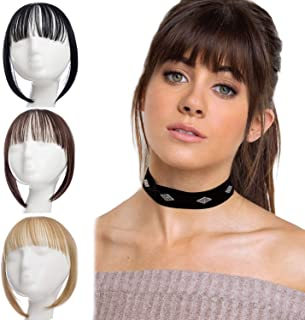 XBwig Clip in Bangs Fringe Hairpieces Hair Extensions One Piece Straight Cute Layered Front Neat Air Bang with Temples (Silver Grey)