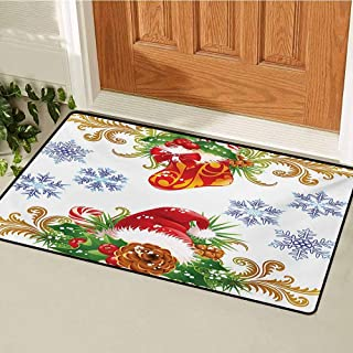 GUUVOR Christmas Front Door mat Carpet Classical Traditional Design with Stocking and Santa Claus Hat Mistletoe Snowflakes Machine Washable Door mat W23.6 x L35.4 Inch Multi