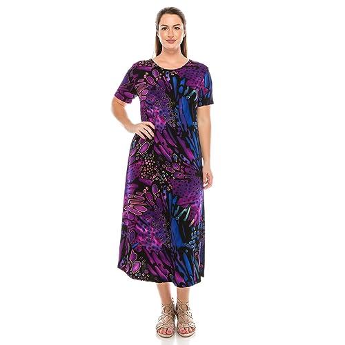 8af20ee27d0 Jostar Women s Stretchy Long Dress Short Sleeve Print