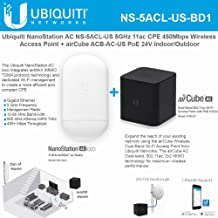 NanoStation AC loco NS-5ACL-US 5GHz 802.11ac airMAX CPE Radio 450Mbps Wireless Access Point with airCube ACB-AC-US airMAX 802.11ac Dual-Band Home Wireless Access Point PoE 24V Indoor